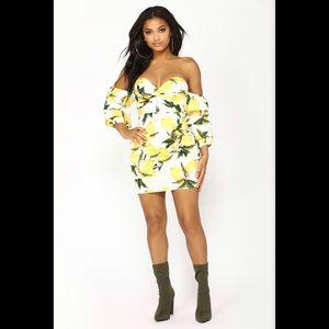 Fashion Nova Lemon Zest Off Shoulder Dress!